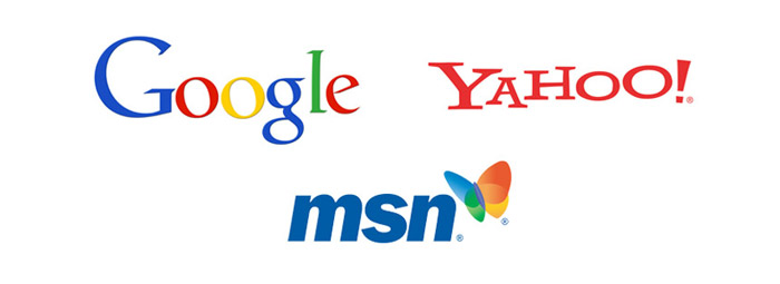 Google, Yahoo, MSN logos