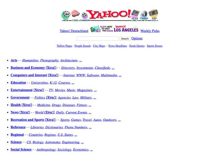 Yahoo! Webpage circa 1996