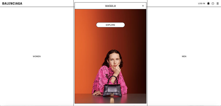 Balenciaga website screenshot