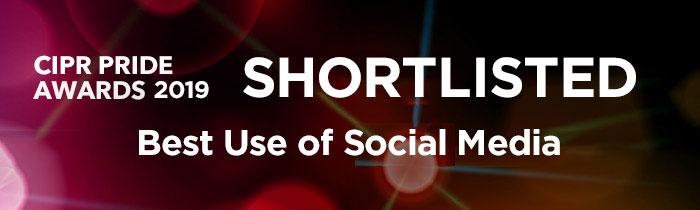 Shortlisted logo - Best Use of Social Media, CIPR PRide Awards 2019